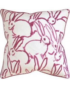 Pink Bunny Design Decorative Square Throw Pillow - Available in Two Sizes