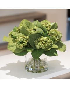 Hydrangea Faux Green Bud Arrangement in Glass Cylinder