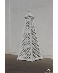 Vendome White Lattice Obelisk in Aluminum with Pinecone Finial – Can be Customized
