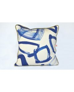 Indigo Blue Abstract Brushstroke Atelier Euro Pillow