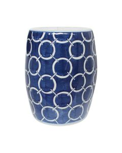 Indigo Blue Circle Porcelain Garden Stool