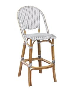 Indoor/Outdoor Bistro Style Rattan Bar Stool - Available in Two Colors