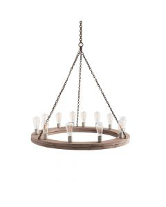 Arteriors Geoffrey Industrial Natural Wood Small Chandelier