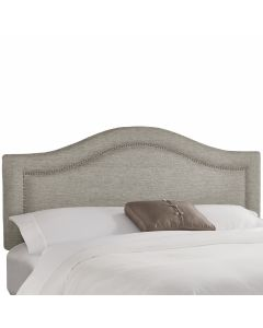 Inset Nail Button Headboard in Metallic Linen Pewter-Available in Five Different Sizes
