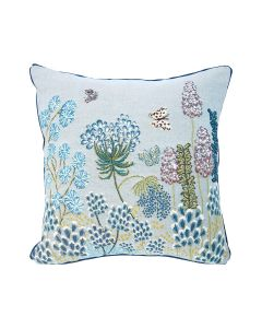 BARGAIN BASEMENT ITEM: Square Blue Jacquard Graminee Floral Tapestry Pillow - IN STOCK IN GREENWICH FOR QUICK SHIP