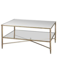 Iron Frame Coffee Table with Mirror Top and Glass Shelf