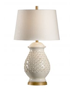 Italian Ceramic Fiera Aged Cream Table Lamp with Shade
