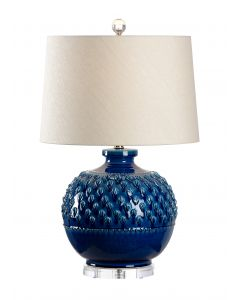Italian Ceramic Indigo Glaze Table Lamp with Shade