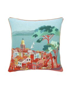 Jacquard Village Woven Tapestry Pillow in Blue