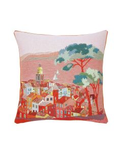 Jacquard Village Woven Tapestry Pillow in Sunset Coral