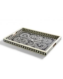 Jaipur Palace Black and White Resin Serving Tray - ON BACKORDER UNTIL MID JULY 2021