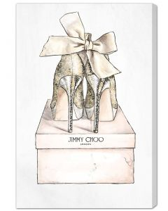 Jimmy Choo Heels With Bow Fashion Print Canvas Wall Art