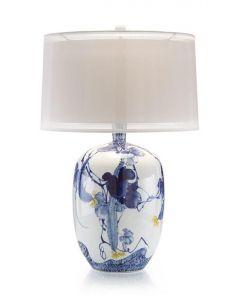 Blue Asian Gardens Table Lamp with Yellow Blooms and Silk Double Shade - ON BACKORDER UNTIL JANUARY 2021