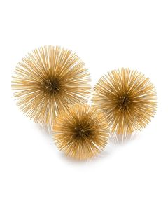Set of 3 Gold Burst Decorative Ball Triplets- ON BACKORDER UNTIL DECEMBER 2020