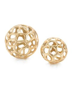 Set of 2 Gold Decorative Pierced Spheres - ON BACKORDER UNTIL APRIL 2020