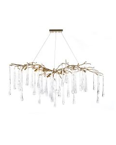 John-Richard Organically Formed Brass and Handblown Glass Teardrop Nine-Light Chandelier