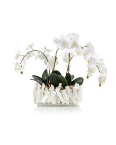 Selenite Crystal Vase with White Orchids