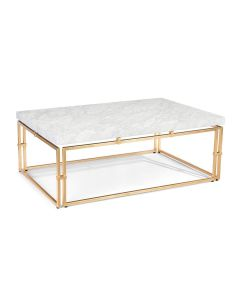 Carrara Marble Rectangular Cocktail Table With Gold Base