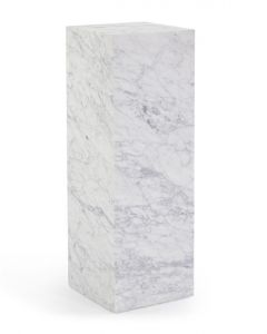 White Carrera Marble Pedestal with Soft Grey Veining