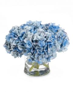 Evening Blue Hydrangeas in Glass Bowl