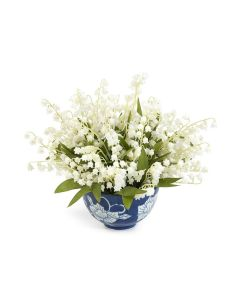 Lily of The Valley Arrangement in Blue and White Bowl