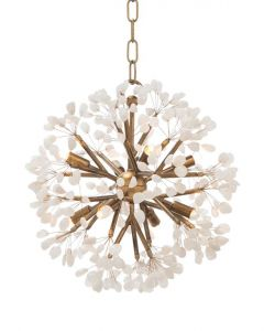 Quartz Crystal Floral Globe 8 Light Chandelier