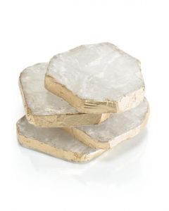 Set of Four Selenite Coasters With Gold Leaf Trim