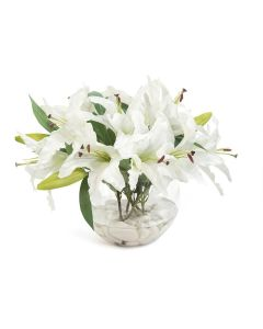White Asian Lillies in a Clear Round Bowl