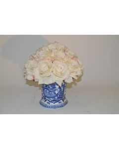 Cream Rose Bouquet in Blue and White Porcelain Pot