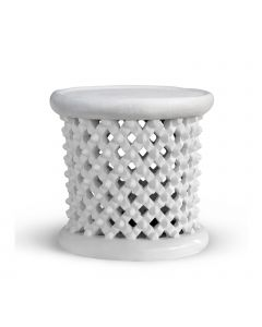 Bungalow 5 Kano Lattice Piercework Stool in White