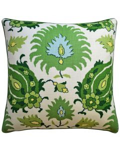 Kashmiri Decorative Floral Throw Pillow in Green - Available in Two Sizes