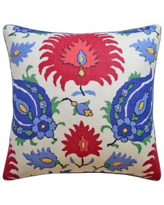 Kashmiri Decorative Floral Throw Pillow in Red and Blue - Available in Two Sizes