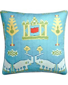 Kingdom Parade Decorative Elephant Throw Pillow in Blue and Green- Available in Two Sizes