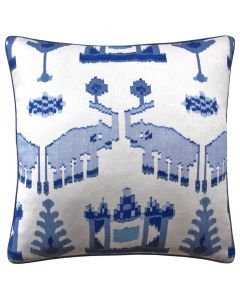 Kingdom Parade Decorative Elephant Throw Pillow in Blue and White - Available in Two Sizes
