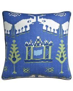 Kingdom Parade Decorative Elephant Throw Pillow in Dark Blue and Green - Available in Two Sizes