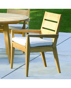 Kingsley Bate Algarve Outdoor Teak Dining Armchair with Optional Cushion ON BACKORDER UNTIL LATE JUNE 2021