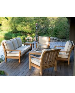 Kingsley Bate Chelsea Outdoor Teak Settee with Cushions