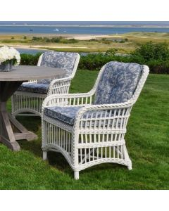 Kingsley Bate Chatham Outdoor Wicker Dining Armchair in Classic White