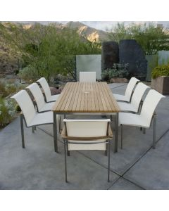 Kingsley Bate Tivoli Outdoor Stainless Steel Rectangular Dining Table