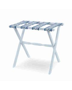 Kravet Distressed White Hardwood Luggage Rack with Four Neeta Indigo Straps