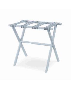 Kravet Distressed White Hardwood Luggage Rack with Four Organic Links Grey Straps