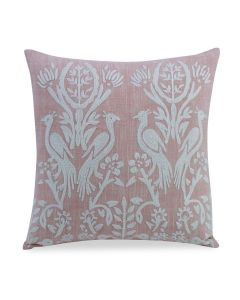 Hand Embroidered Pink Cotton Dampier Decorative Accent Pillow with Peacock Motif