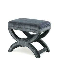 Kravet Indigo Striped Velvet Cross Stool with Pewter Nailheads – FINAL STOCK CALL TO CONFIRM AVAILABILITY