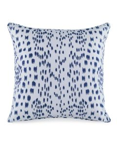 Les Touches Embroidered Speckled Indigo Blue Cotton Decorative Pillow