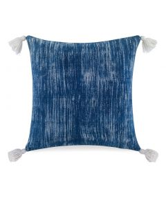 Blue and White Faded Pillow with White Tassels - LOW STOCK CALL TO CONFIRM AVAILABILITY
