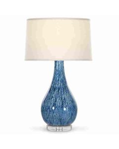 Marbleized Blue Ceramic Table Lamp on Acrylic Base with Ivory Linen Shade - ON BACKORDER