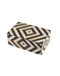 Brown Diamond Pattern Decorative Bone Box - ON BACKORDER UNTIL MID-JULY 2020