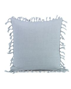 Stonewashed Light Blue Linen Decorative Pillow with Self Fringe and Knots