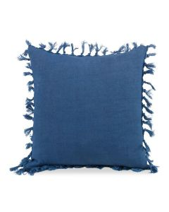Stonewashed Navy Blue Linen Decorative Pillow with Self Fringe and Knots