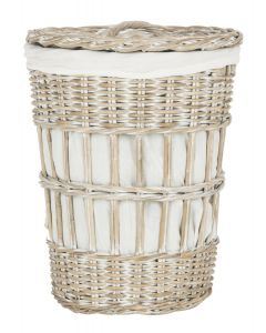 Kubu White Wash Storage Hamper With White Liner - CALL TO CONFIRM AVAILABILITY